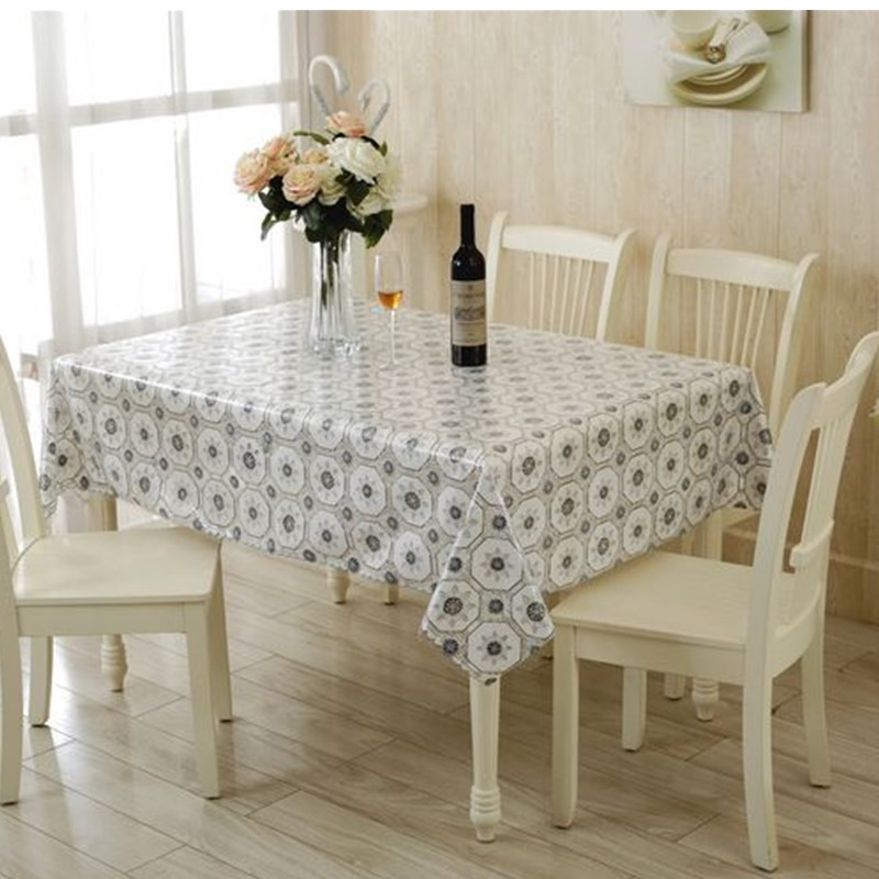 European Transparent PVC Table Cloth Waterproof Dinner Table Decor Round Tablecloth 130X130cm Plastic Table Cover(China (Mainland))