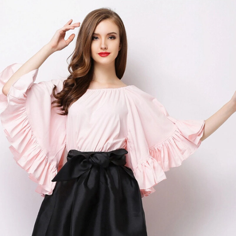 2015 new runway summer brand fashion casual women's elegant slit neckline shirt batwing sleeve plus size loose blouses shirt(China (Mainland))