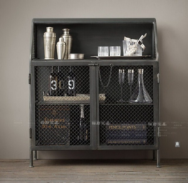 French American country to do the old vintage wrought iron sideboard sideboard three wine racks, wrought iron bar cabinet(China (Mainland))