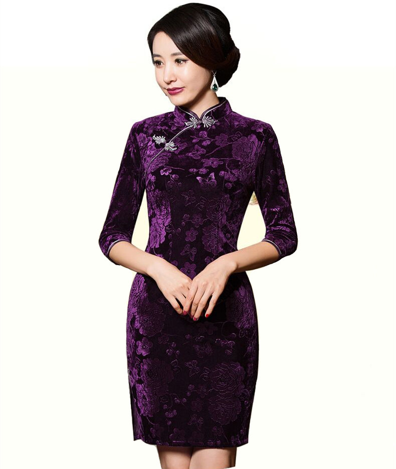 Purple Classic Ladies Velour Mini Cheongsam Hot Sale Traditional Chinese Qipao Dress Clothing Size S M L XL XXL XXXL 275966