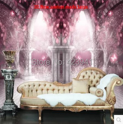Can customized large 3d mural art Contracted wall home decor sitting room porch Children dream castle wallpaper oil paintings(China (Mainland))