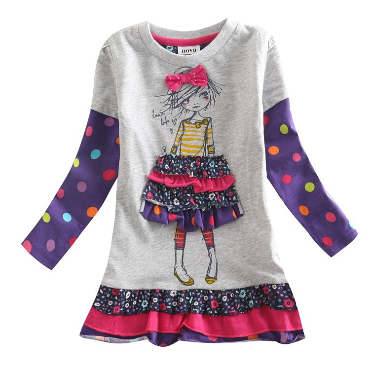 girl dress children clothing long sleeve dress printed lovely girl for girls kids princess dress children tutu party dress(China (Mainland))