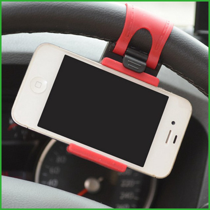 100pcs/l Universal Car Steering Wheel phone holder Elastic Design Mobile Phone Holder Stand For iPhone GPS MP4(China (Mainland))