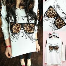 2015 new women's Hoodies Sweatshirts Leopard Grain glasses Decoration Long Sleeve Hoodies Sweatshirts White(China (Mainland))