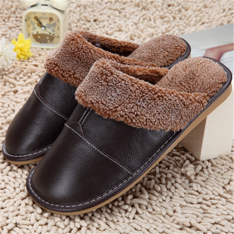 High Quality Winter Warm Home Slippers Couples Genuine Cow Leather Leisure Lamb Wool Cow Muscle Women Men Indoor Floor Slippers(China (Mainland))