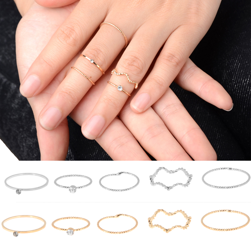 5Pcs/set Punk Rock Gold Silver Plated Crystal Ring Set Band Midi Finger Knuckle Rings for Women Mid Finger Accessories Jewelry(China (Mainland))