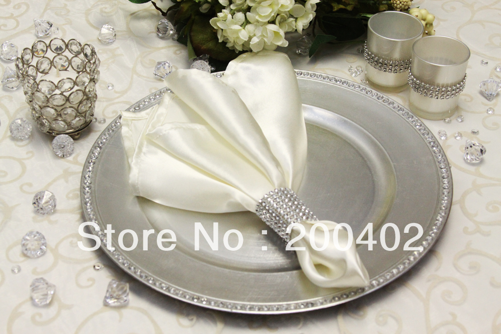 Free Shipping Ivory Plain Satin Napkin For Wedding And Banquet Napkins In Table Napkins From