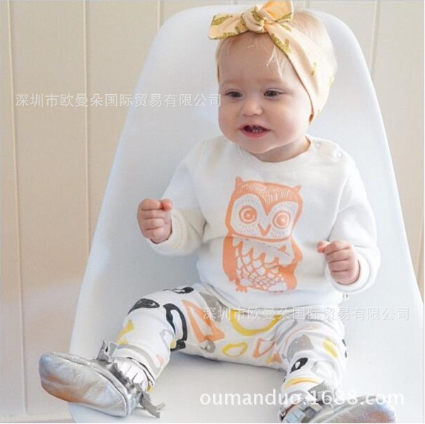 2016 Novelties Baby girl clothes set long sleeve T-shirt + Pants Owl pattern set cotton baby clothes girl(China (Mainland))