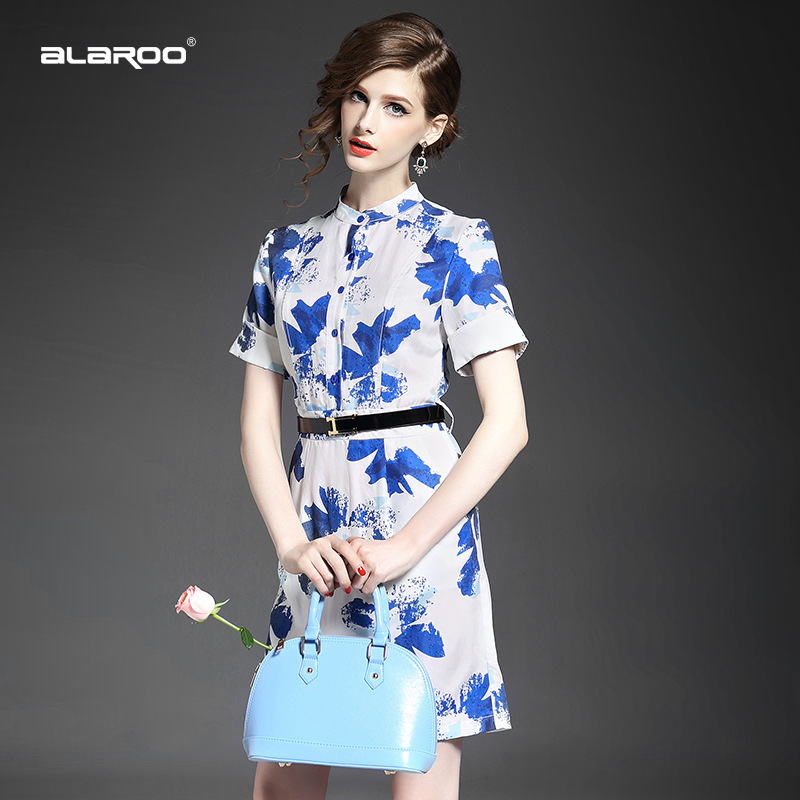 summer style 2015 European high-end women's single-breasted collar copper ammonia silk printing Slim package hip step dress summ - LADY SARA'S FASHION STORE store