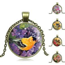 Vintage Jewelry Birds Art Picture Glass Pendant Necklace Ancient bronze Flower Accessories Chain Necklace for Women men S0636