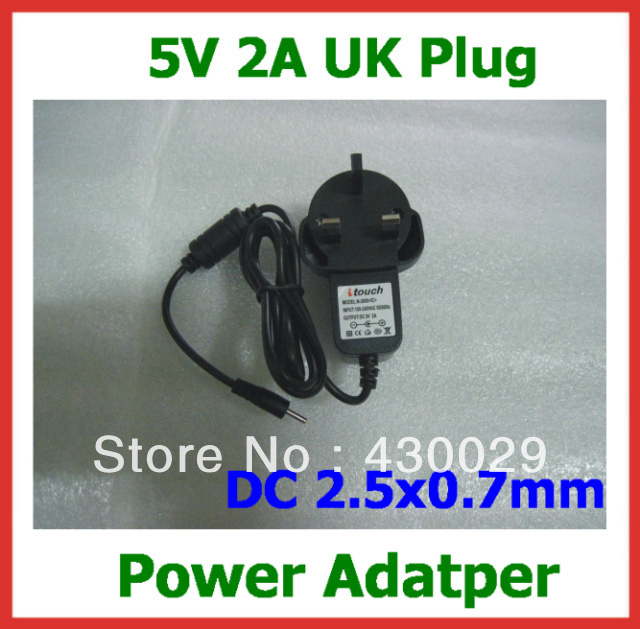 5V 2A 2.5mm UK Charger Power Supply Adapter for Ampe A10 deluxe/A90 Sanei N10 deluxe/N90 Ramos W30HD W28 Q88 Ainol Venus(China (Mainland))