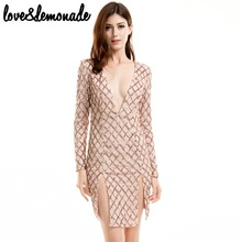 Buy Love&Lemonade Long-Sleeved V-Neck Gold Sequined Cut Party Dress TB 9376 for $36.99 in AliExpress store