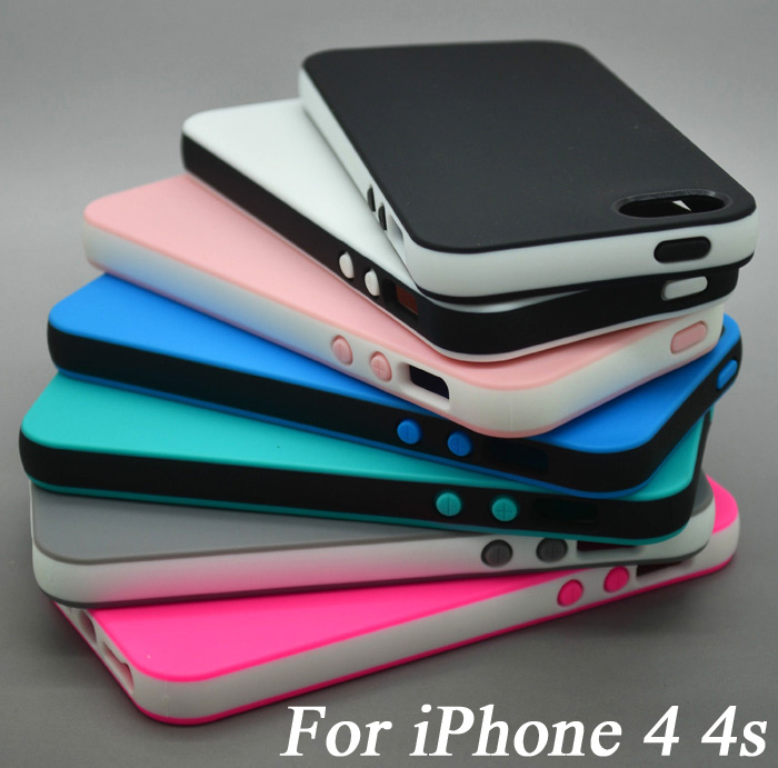 Fashion Dual Color Rubber Soft Silicone TPU Case iPhone 4s 4 s iPhone4 Cases Phone Protective Back Cover Capa Funda Coque - Forrest Technology store