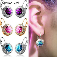 2016 Vintage Fashion Stud Earrings Statement Jewelry Unique Round Crystal Gold Plated Earring For Women Wedding Jewelry brinco