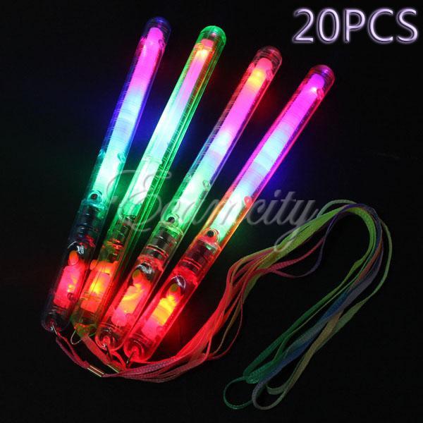 Multi Colorful 7 Modes Flashing LED Night Light Lamp Wand Glow Sticks + strap Festival Camp Party 20PCS/lot(China (Mainland))