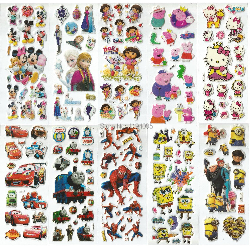 60pcs 3D cartoon puffy stickers kids classic toys spiderman hello kitty pokemon minion minnie mickey winx club sofia elsa thomas(China (Mainland))