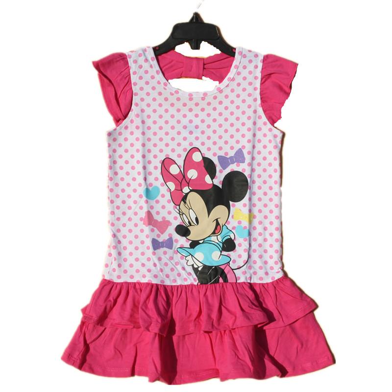 original brand,6pieces/lot 3-6X baby girls minnie mouse dress,Minnie dots dress,short-sleeved cute dress for summer