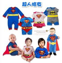 Baby Romper Superman Long Sleeve with Smock Infant Cartoon Halloween Christmas Costume Gift Children Kids superman romper(China (Mainland))