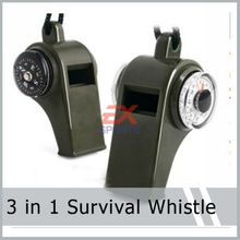 3 pieces/lot Outdoor Multi Funtion 3 in 1 SURVIVAL WHISTLE WITH BUTTON COMPASS AND THERMOMETER LANYARD Green Color ES1001(China (Mainland))