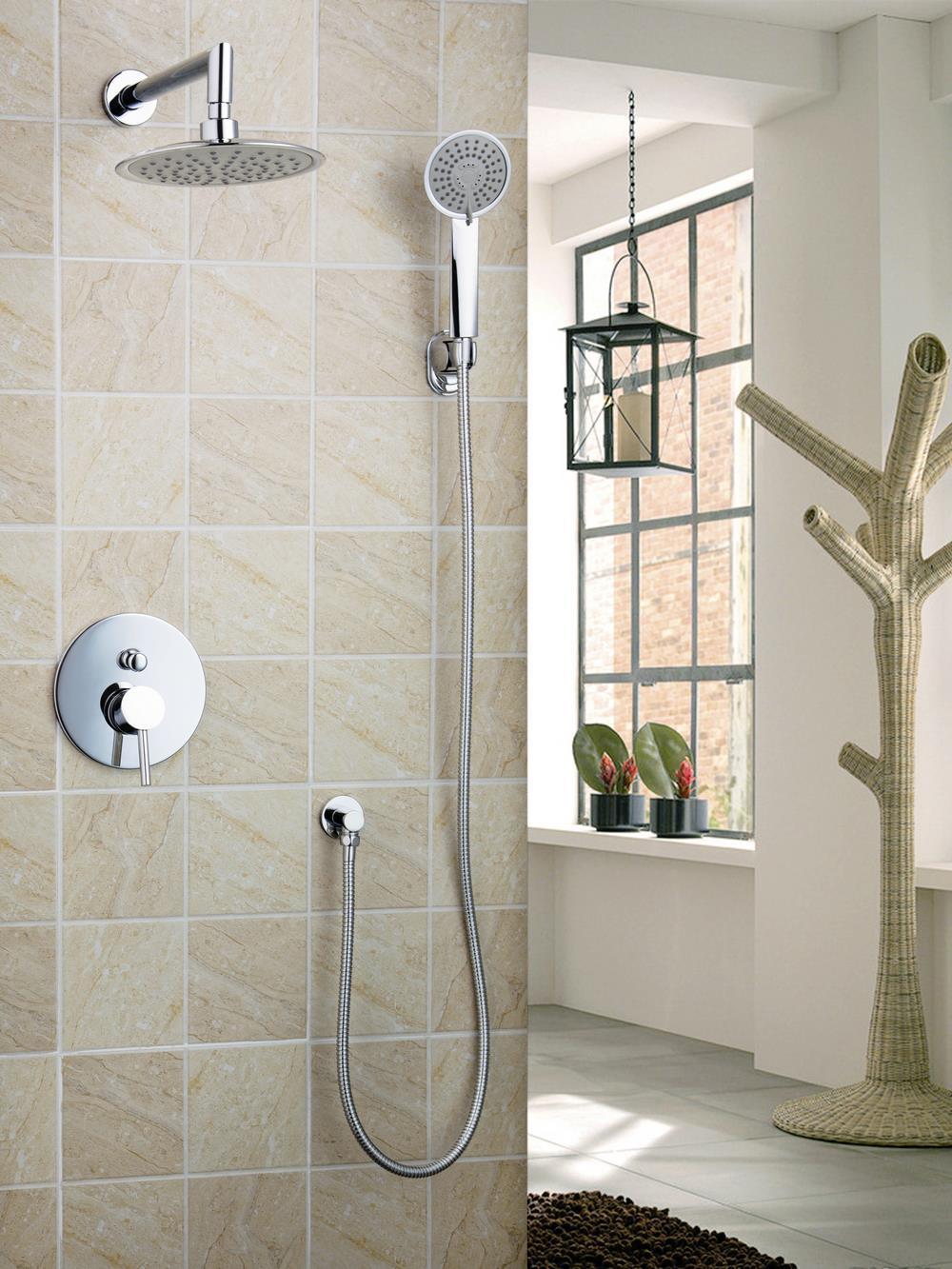 "Shower Set Torneira 50236-42A LED Light 8"" Rainfall Shower Head Arm Control Valve Handspray Shower Faucet Set Mixer Tap Faucet(China (Mainland))"