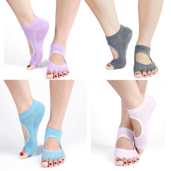 1Pair Half Toe Ankle Grip Yoga Dance Pilates Socks Five 5 Toes Non Slip Socks(China (Mainland))