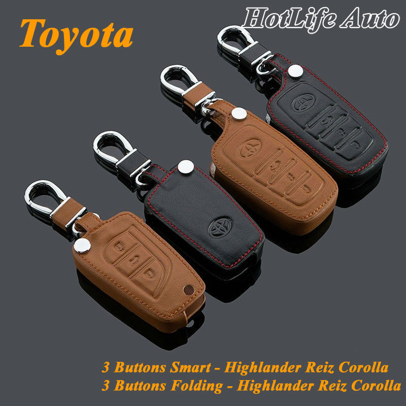 2014 Toyota Highlander Corolla Reiz Car Keychain Genuine Leather Car Key Case Fob Cover Smart Car Key Chain Ring Car Accessories(China (Mainland))