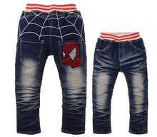New Style children clothing Cartoon Spider man design pants boys jeans autumn kids trousers Wholesale And Retail