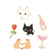 3 ~ 6 Pcs/set Kucing Rose Burung Koi Sakura Mobil Keren Bros Tombol Pins Denim Kerah Pin Lencana Fashion Kartun perhiasan Hadiah untuk Anak(China)