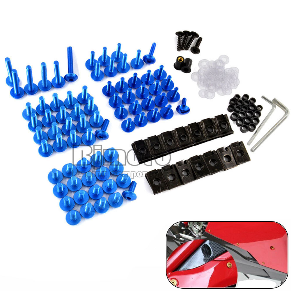 Universal Motorcycle Aluminium Fairing Bolts Kit Body Fasteners Clip Screws 5 colors for options