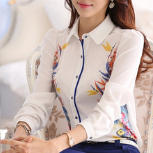 Good quality Brand new 2015 Spring Summer Women Floral print shirt blouses, plus size maxi white chiffon tops(China (Mainland))