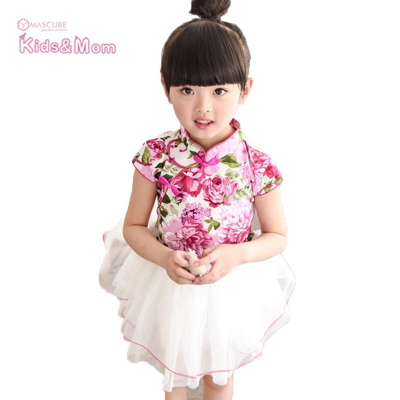 2016 New Design Chinese Style Kids Dress Little Girl Floral Print Dresses Children Cheongsam Style Dress(China (Mainland))