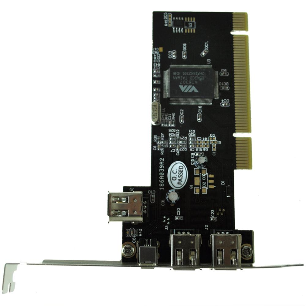 hot sale! New PCI FireWire IEEE 1394 3 + 1 Port Card + 4/6 Pin Cable UK(China (Mainland))