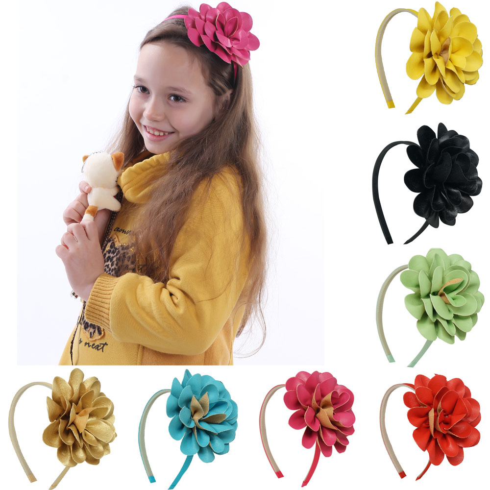High Quality Girls Sweet DIY Hairbands Leather Big Flower For Baby With Teeth Band Princess Hair Accessories(China (Mainland))
