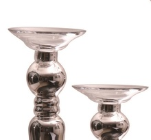Silver plated European retro ornaments glass candlestick candle holders wedding props table decorations soft(China (Mainland))