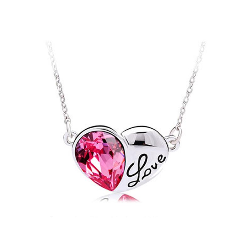 New Arrival Luxury Heart-shaped Necklace 18k White Gold Plated Cubic Zirconia Diamond Pendant Necklace Elegant Women Jewelry(China (Mainland))