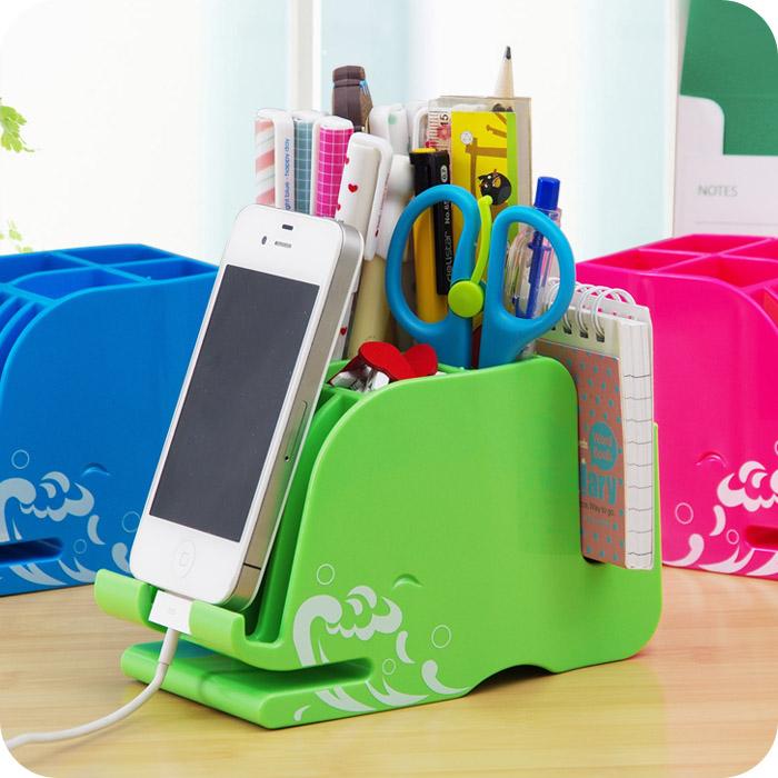 2015 Pencil Desk Accessories Q Cartoon Whale Pen Multifunctional Office Desktop Stationery Box Korea Fashion Mobile Phone Seat(China (Mainland))