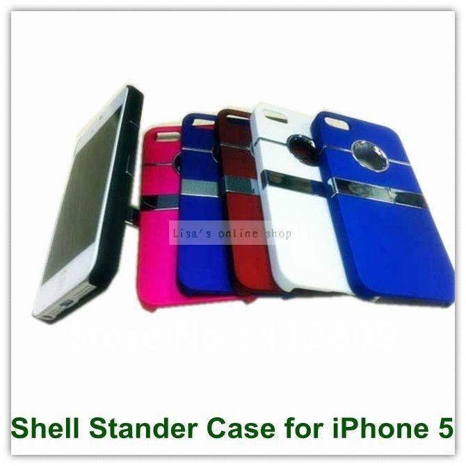 Luxury Smooth Roll Stand Holder Chrome Back Case for iPhone 5 5S 25PCS Free Shipping(China (Mainland))