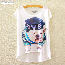 2016 Brand New Polyester T-Shirt Women Short Sleeve t-shirts o-neck Causal loose Cartoon dog T Shirt Summer tops for women