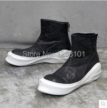 2014 new fashion trend rk owen casual men's leather lace-up boots high shoes men sneakers