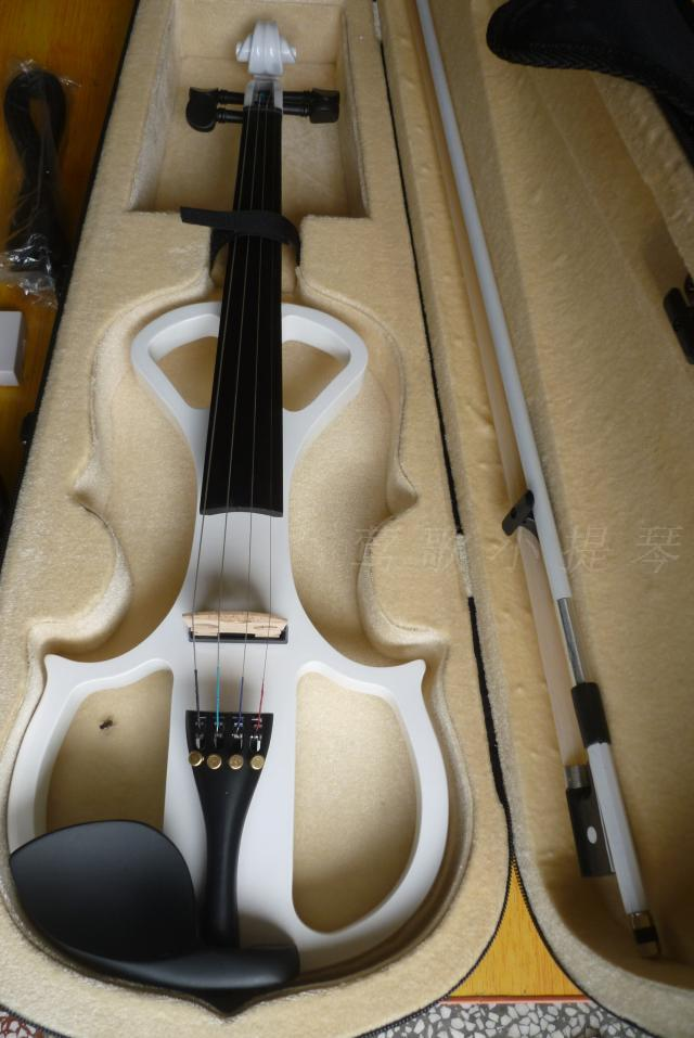 Quality handmade electronic violin white electric violin white bow(China (Mainland))