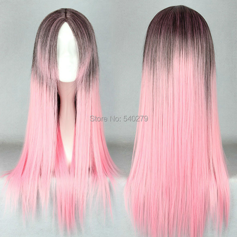 65cm Long Straight Pastel Pink Brown Multi-Color Ombre Synthetic Hair Gradient Wig Lolita Anime Costume Cosplay Wigs - HD online Store store