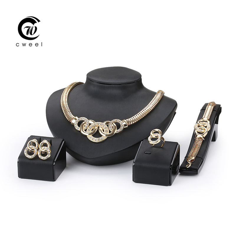 Women Party Gold Plated African Beads Jewelry Sets Crystal Cross Necklace Bangle Earrings Ring Wedding Dress Accessories Costume(China (Mainland))