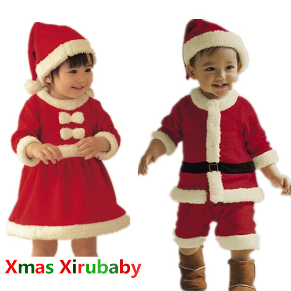 Гаджет  2014 new vestidos Christmas baby girls and boys clothing set Xmas red and white party dress+ hat Santa Claus romper None Детские товары