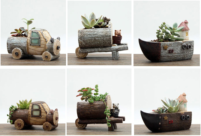 2016creative Resin Garden Decor Continental Idyllic Village Truck Water Tankers Ship Mini Micro Landscape Plant Pots Decoration(China (Mainland))