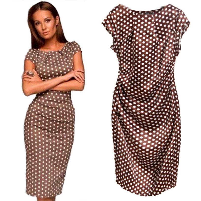 Гаджет  Best Deal 2015 Summer Women Sexy Dress Fashion Casual Short Sleeve O-neck Dot Print Elegant dress 1pc None Одежда и аксессуары