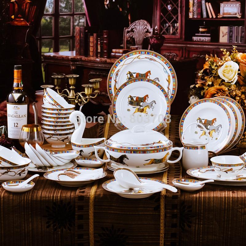Frace animal bone china dinnerware sets 71-piece porcelain coffee set dinner dish sets for house warming gift(China (Mainland))