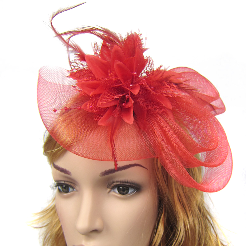 Handmade Hair Accessories Wholesale Hot Pink Red Elegant Bridal Ladies Women Feather Hair Mesh Fascinators Clip Wedding Top Hat(China (Mainland))