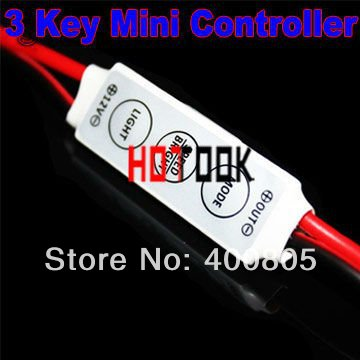 12V Mini 3 Keys Single Color LED Controller Brightness Control light Dimmer used led 3528 5050 strip x 10PCS-- - HOTOOK Official Store store