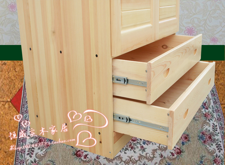 Two three wood wardrobe closet wardrobe lockers pine furniture Children's wardrobe closet wardrobe drawers(China (Mainland))
