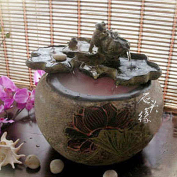 Stone Fountain Edge Household Knick Knacks Resin Flowing Water Aquarium Fish Pond Office Desk